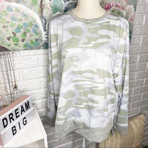 White Birch Grey Camo Long Sleeve Top